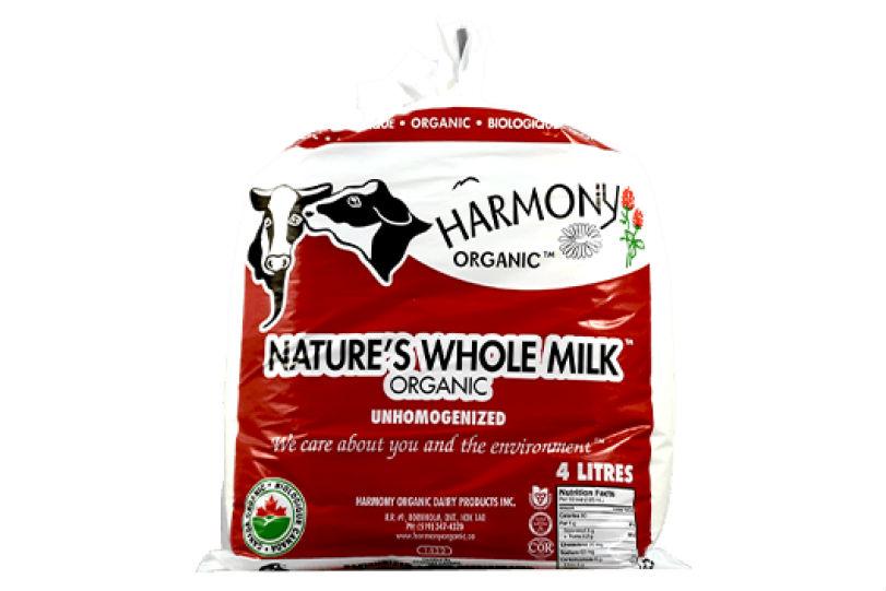 Harmony Dairy – UNHOMOGENIZED Whole Milk (4L Bags)