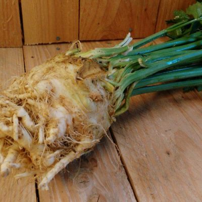 Organic Celeriac with Tops