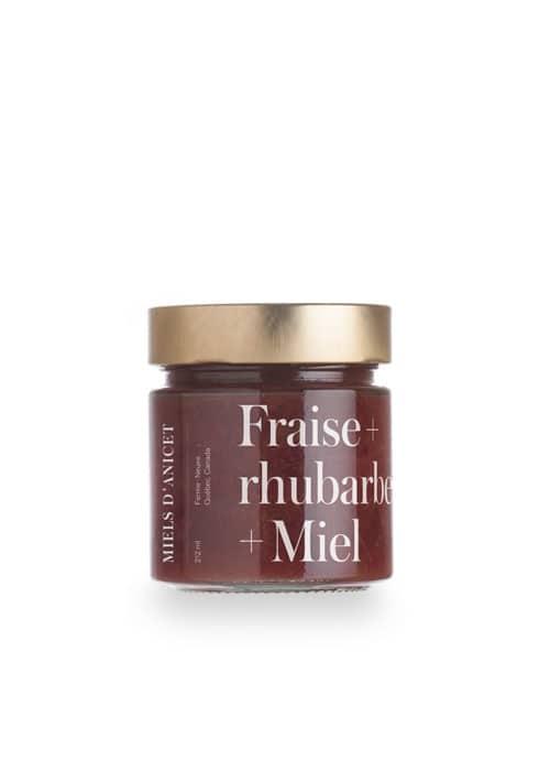 Miels d'Anicet – Spread – Strawberry + Rhubarb + Honey (212ml Jar)