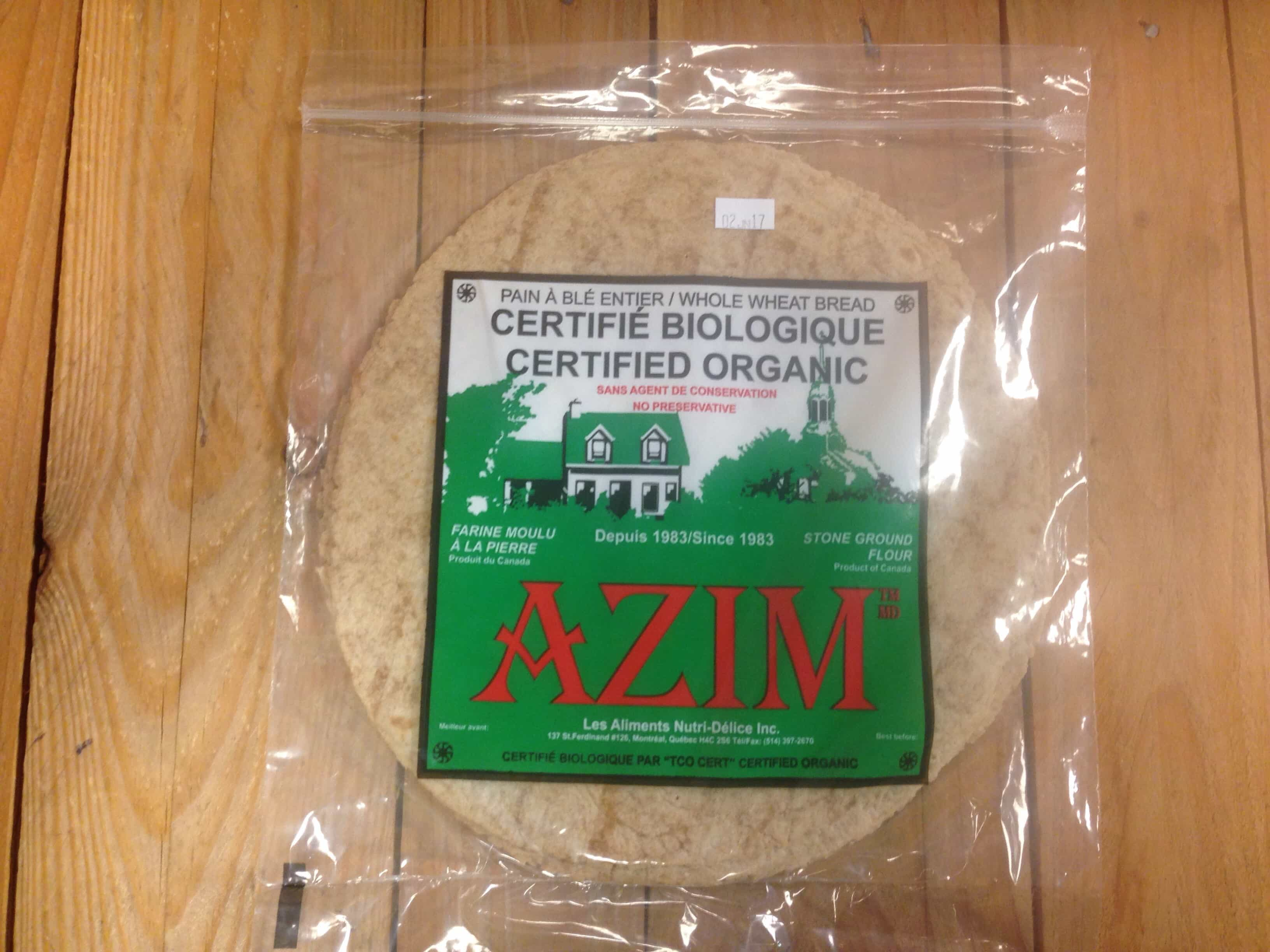 Azim – Flat Bread Wheat ORGANIC (Pkg 5/240g)