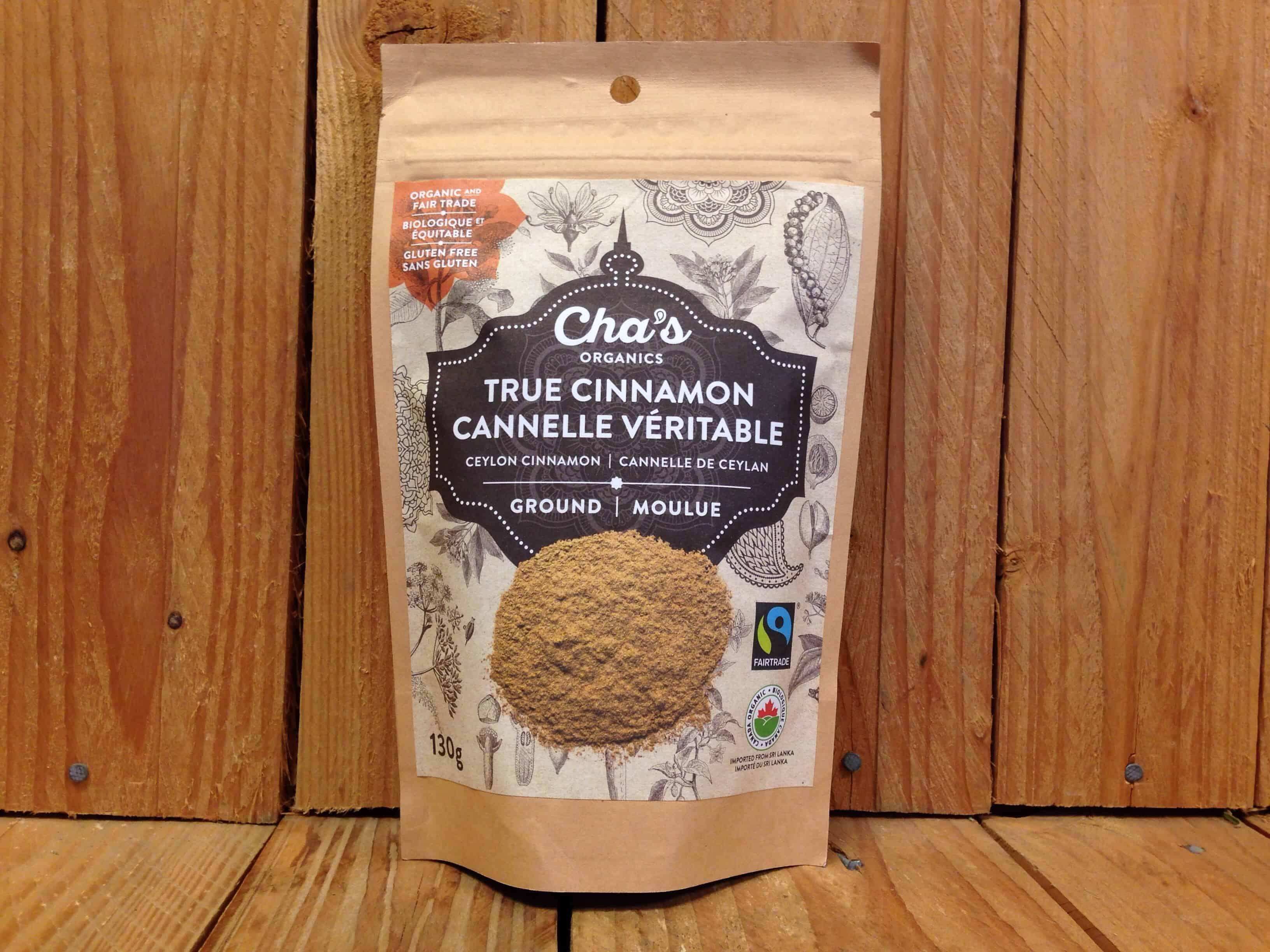 Cha's – Organic True Cinnamon – Ground (130g Bag)