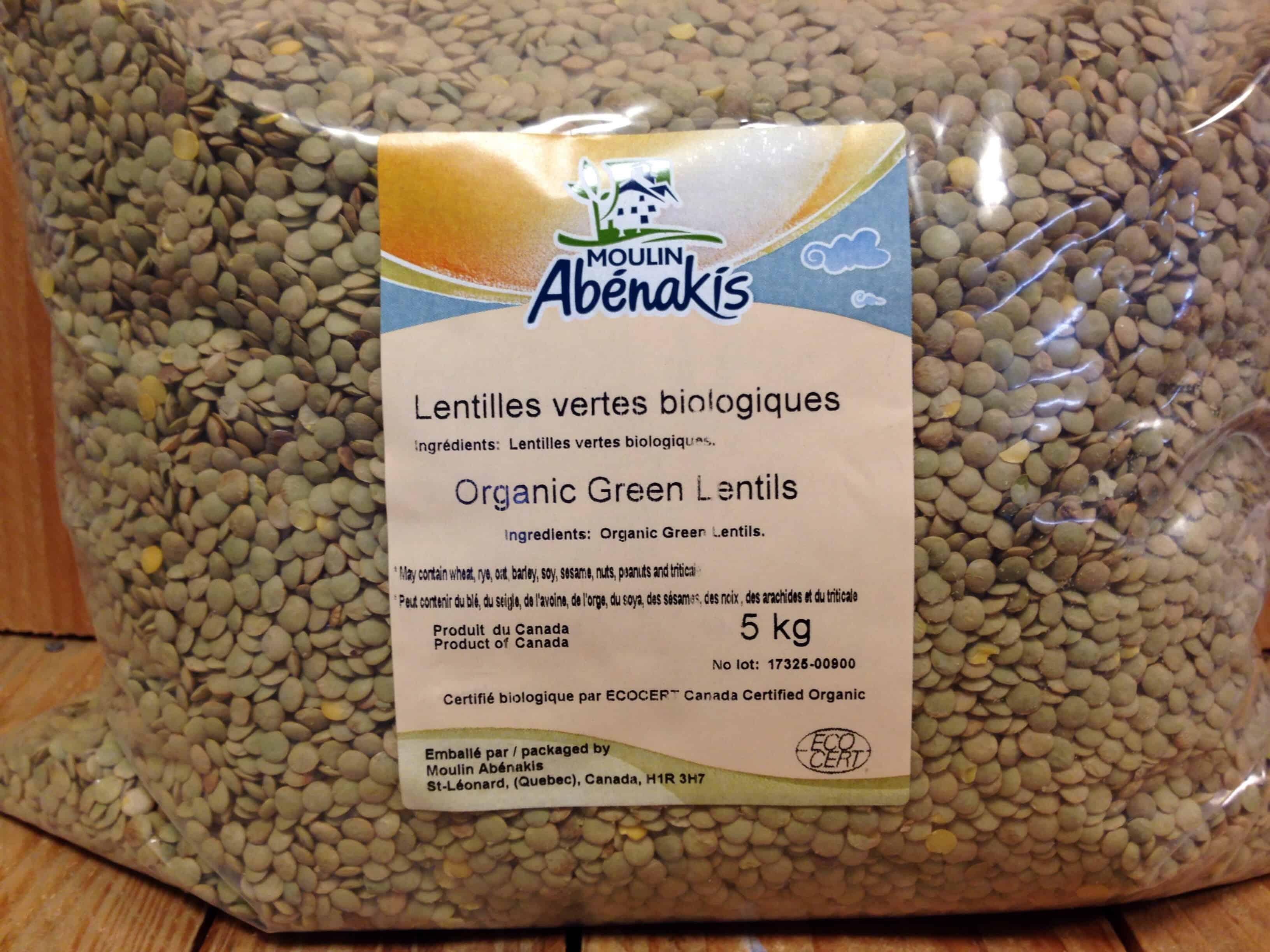 Abenakis – Lentils Green (5kg Bag Bulk)