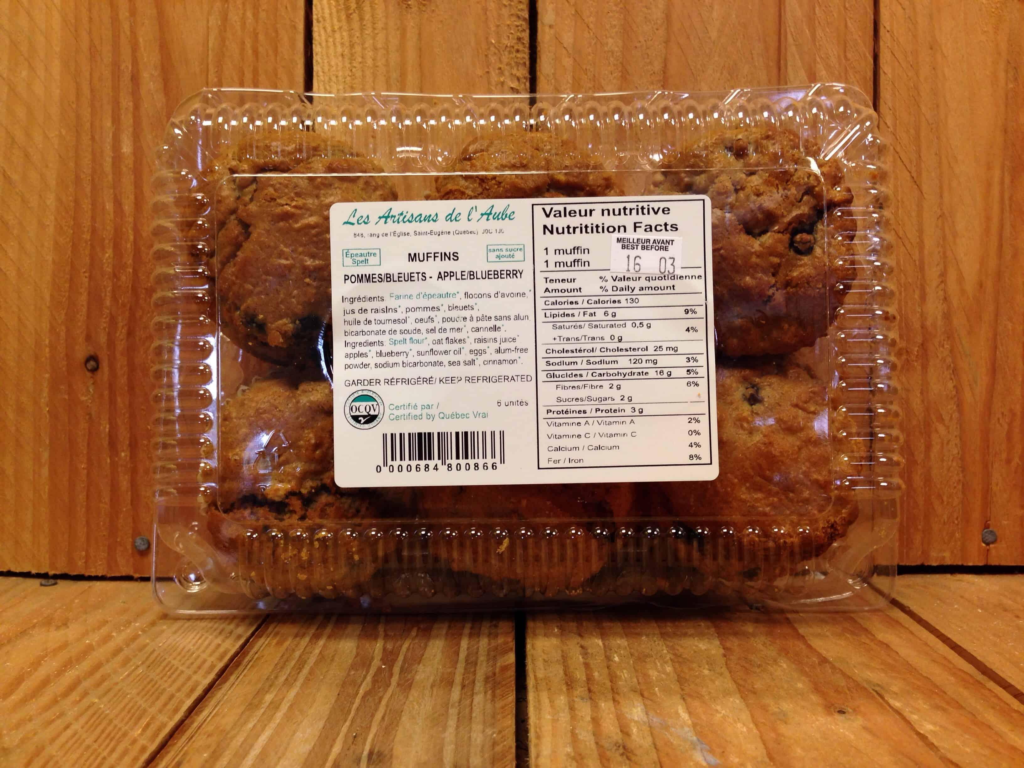 Artisans de l'Aube – Muffins – Sugar-Free Apple Blueberry Spelt (Pkg/6)