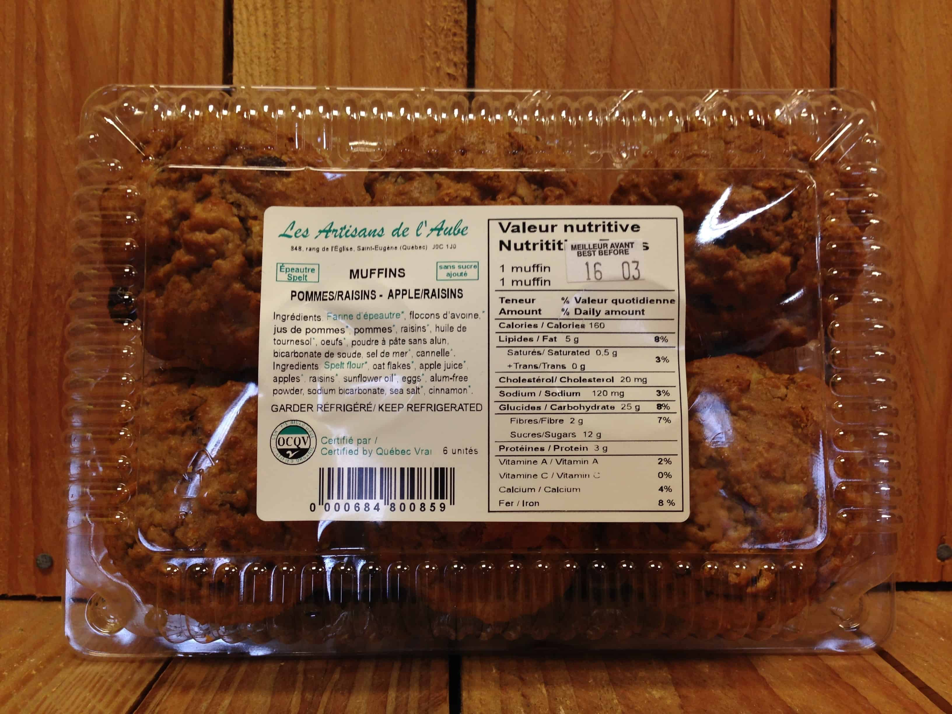 Artisans de l'Aube – Muffins – Sugar-Free Apple Raisin Spelt (Pkg/6)