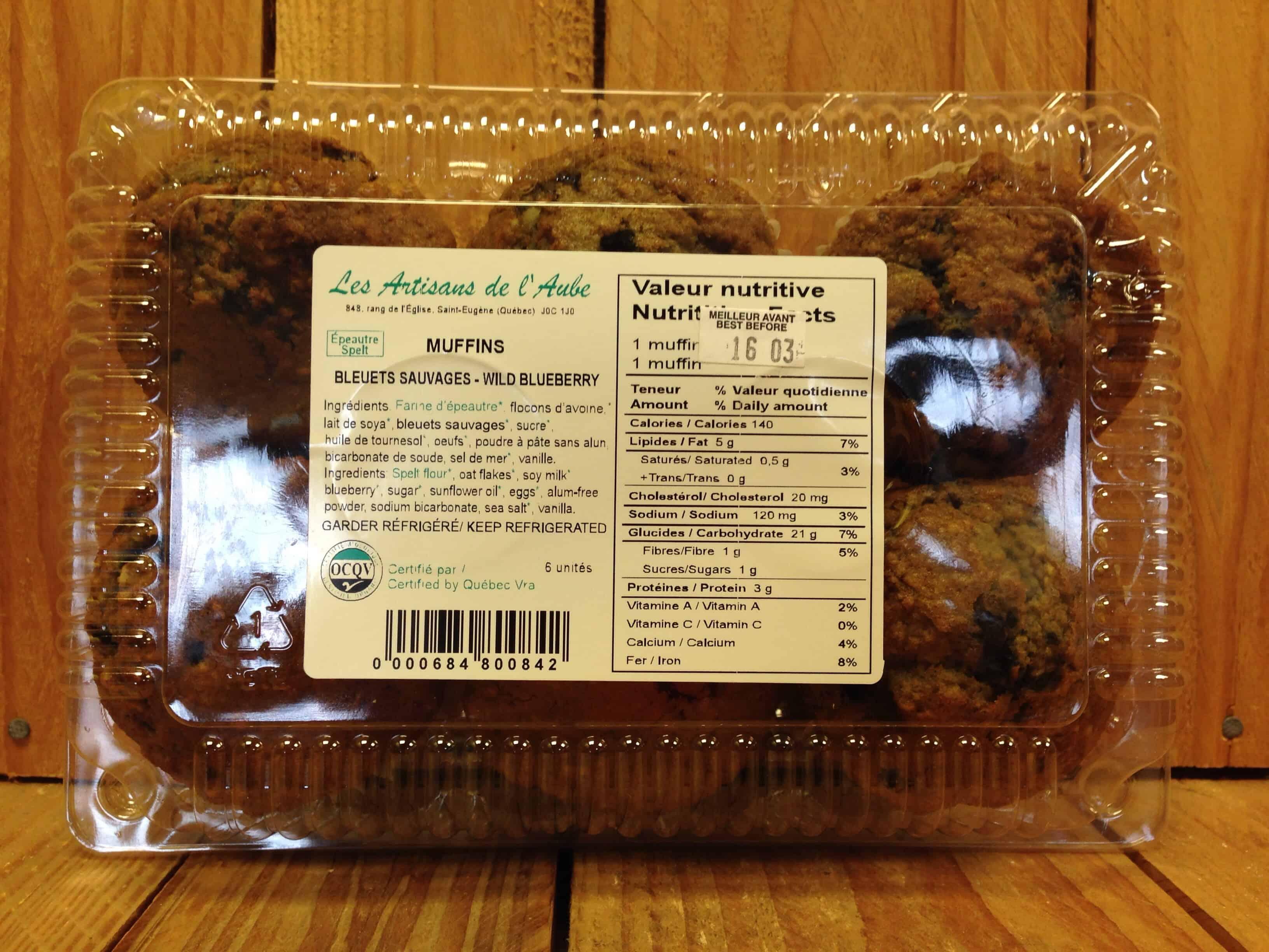 Artisans de l'Aube – Muffins Wild Blueberry Spelt (Pkg/6)