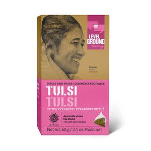 Level Ground Trading – Tea Tulsi Green FAIR TRADE (20 Pyramids)