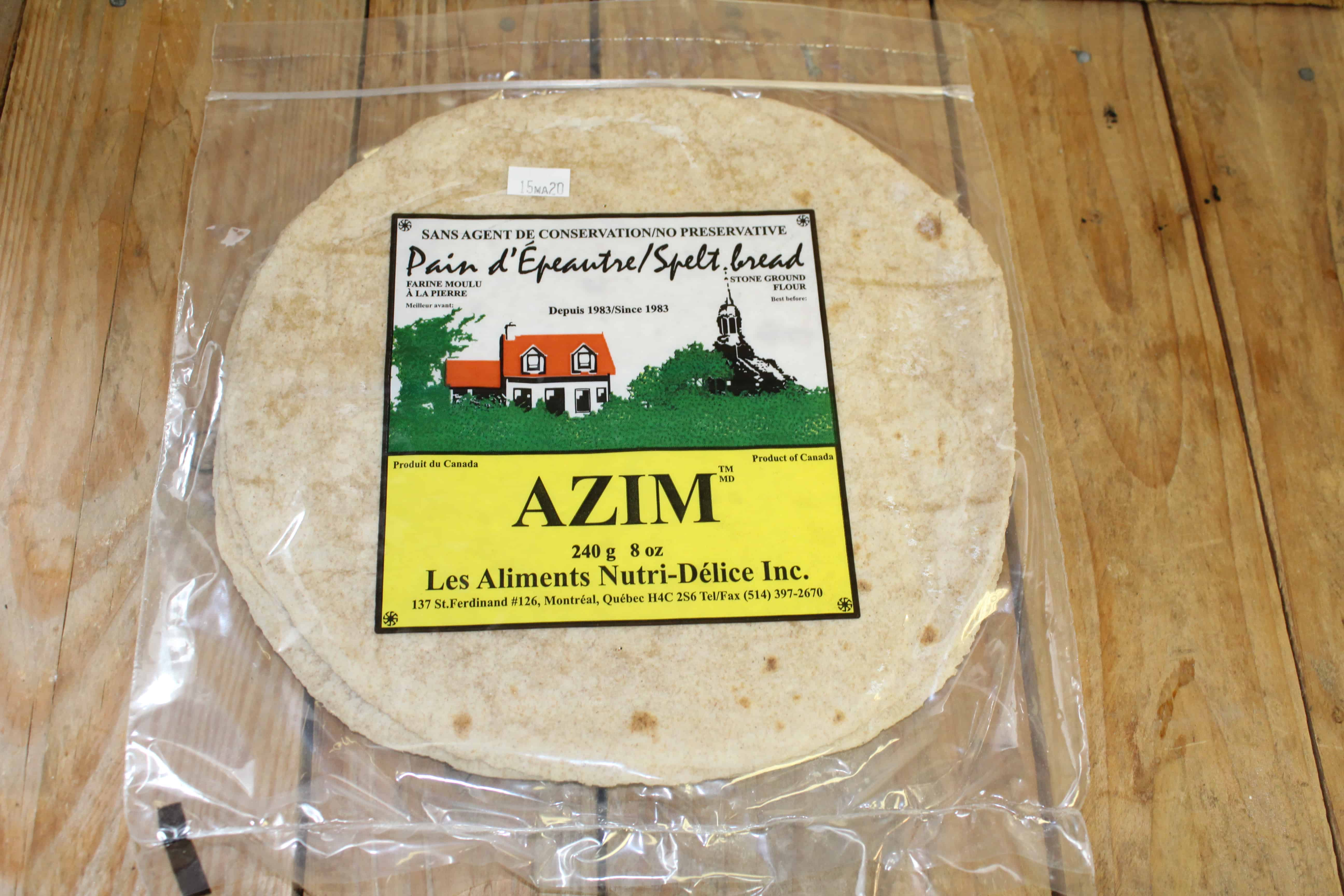 Azim – Flat Bread Spelt *Not Organic* (Pkg 5/240g)