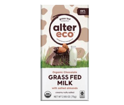 Alter-Eco – Organic Chocolate, 46% Milk Grass Fed, Salted Almonds 46% (75g Bar)