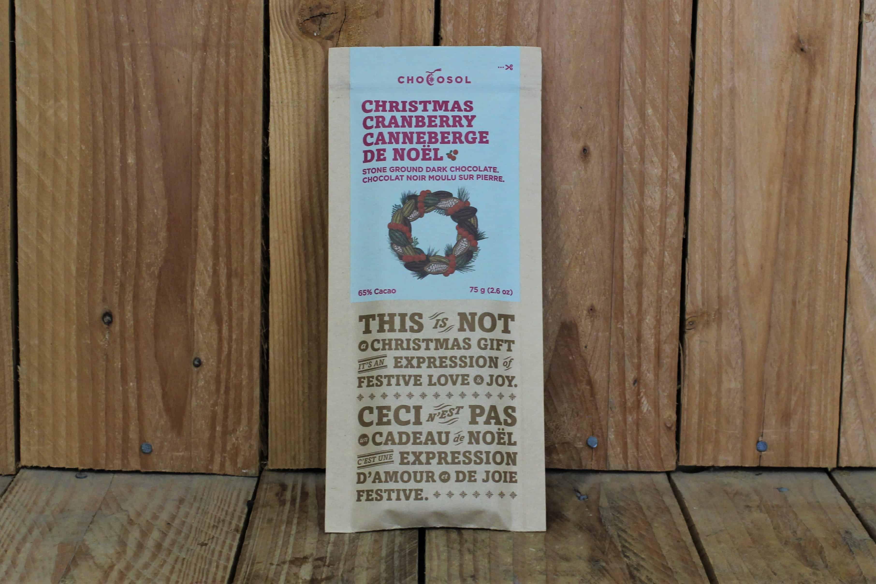Chocosol – Christmas Cranberry + 65% Dark Chocolate Bar (75g)